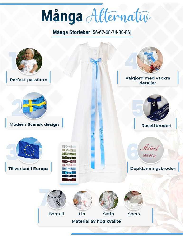 Dåpskjole med et nydelig langt skjørt