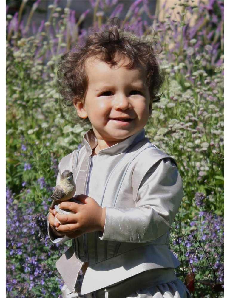 Dåpskjole med rosa sløyfe