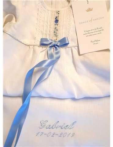 Dåpskjole med unik blonder og ceris bue