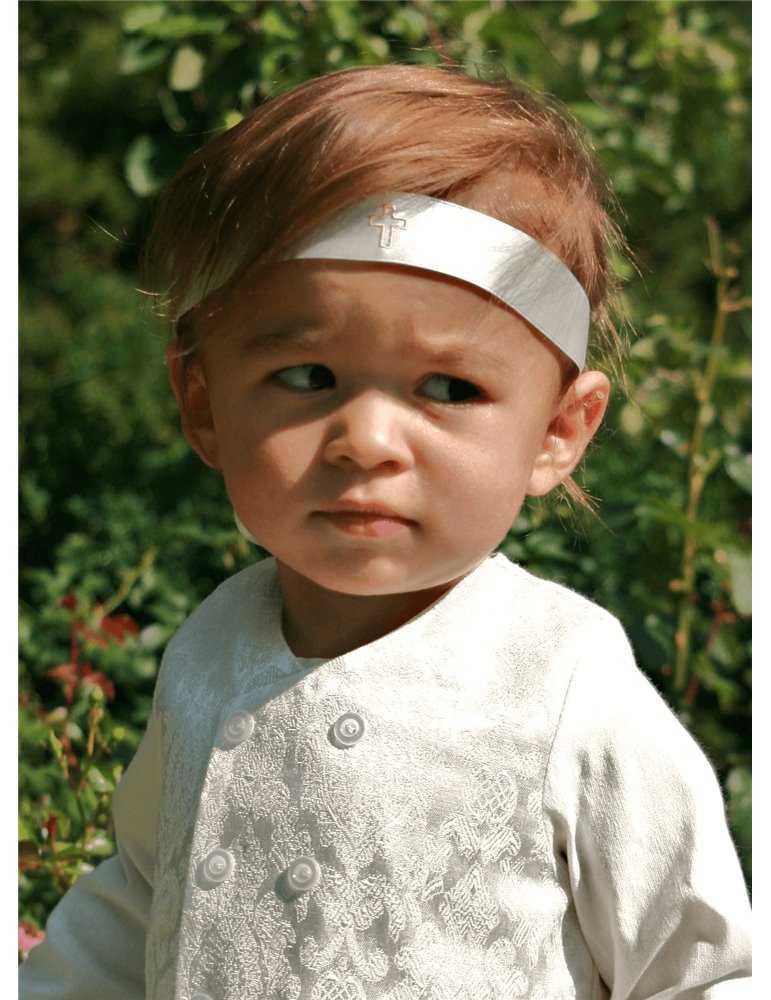 Dåpskjole i blonder med lange ermer