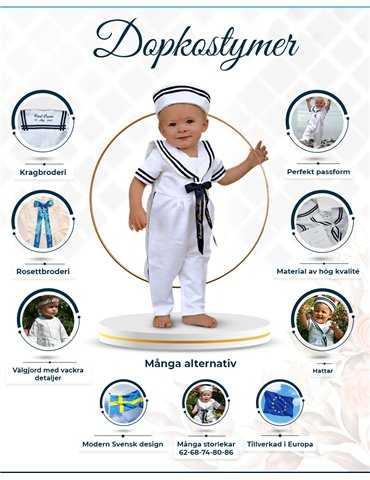 blå Dåpkjole bue med rose