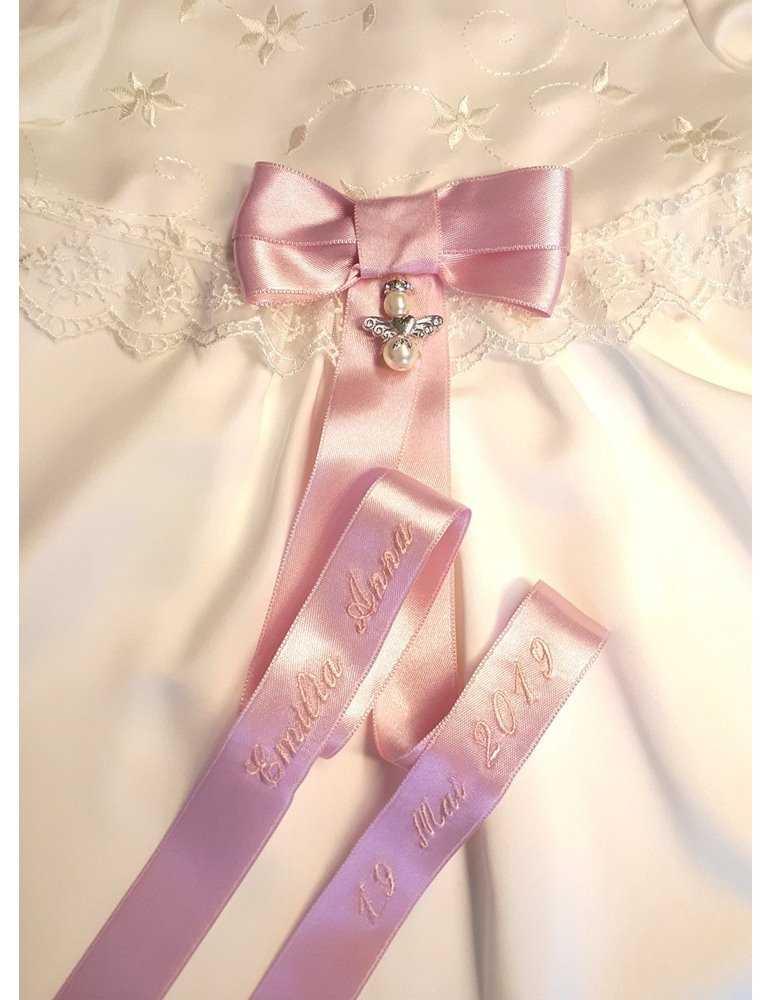 kritt hvit dåpskjole med luksuriøs rosett