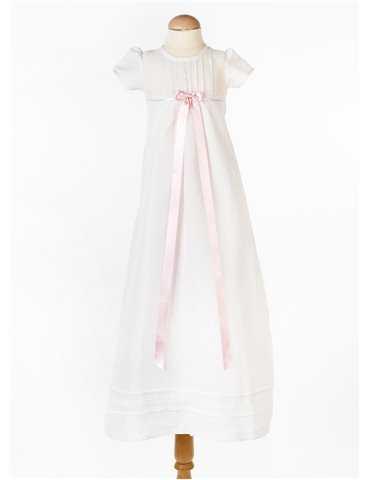 Dophätta i vit bomulls satin till bäbis