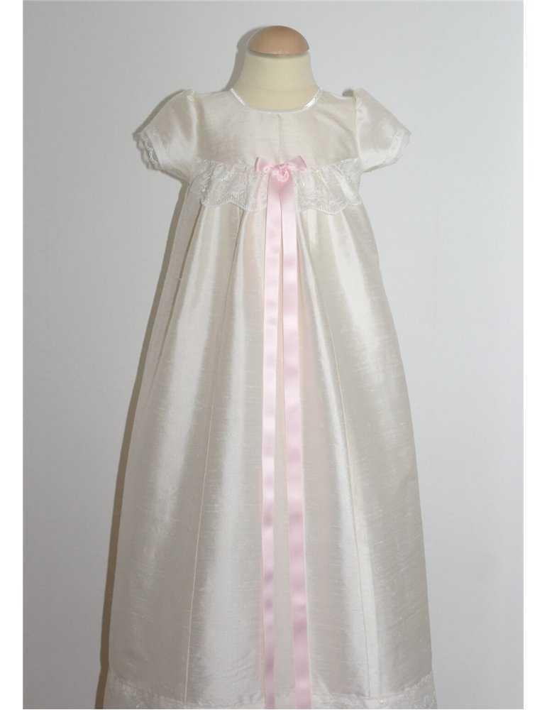 Dopklänning rosa rosettband för flicka